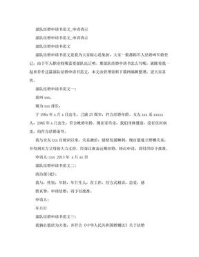 部队结婚申请书范文_申请请示.doc
