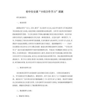 初中历史课题研究调查报告.doc