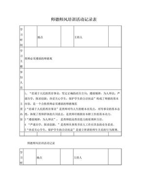 师德师风培训活动记录.doc