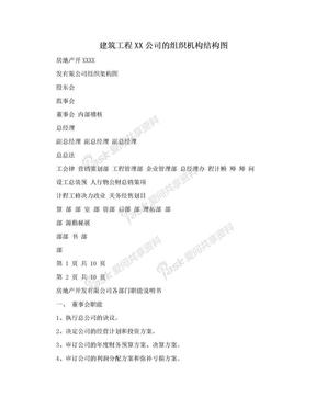建筑工程XX公司的组织机构结构图.doc