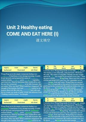 2009年高考英语第一轮复习课件必修三Unit 2 Healthy eating.ppt