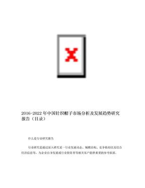 2016-2022年中国针织帽子市场分析及发展趋势研究报告(目录).doc