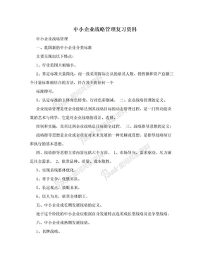 中小企业战略管理复习资料.doc