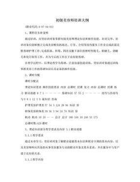 初级美容师培训大纲.doc
