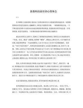 新教师岗前培训心得体会.doc