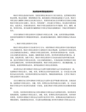 浅谈财政专项资金绩效审计.docx