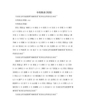 中药简表(用量).doc