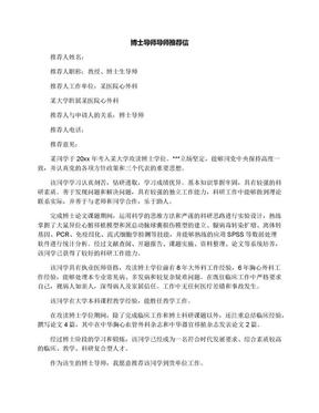 博士导师导师推荐信.docx