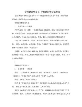 学校建筑物命名 学校建筑物命名释义.doc