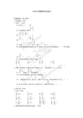 小学六年级数学综合练习.doc