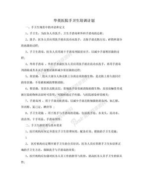 华英医院手卫生培训计划.doc