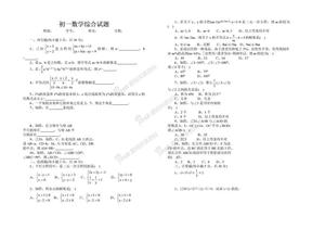 初一数学综合试题.doc