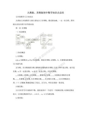 人教版、苏教版初中数学知识点总结.doc