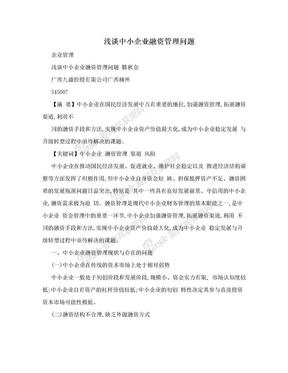 浅谈中小企业融资管理问题.doc
