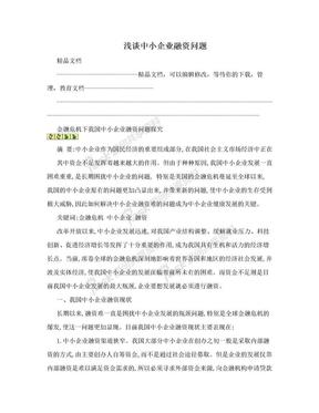 浅谈中小企业融资问题.doc