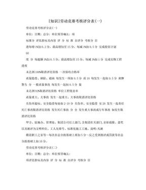 [知识]劳动竞赛考核评分表(一).doc