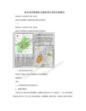 南京河西新城住宅地块项目投资分析报告.doc