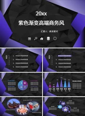 2019紫色渐变高端商务风PPT模板.pptx