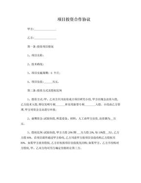 项目研发投资合作协议(范本).doc