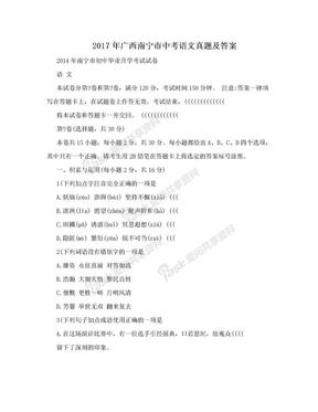 2017年广西南宁市中考语文真题及答案.doc