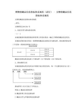 博物馆藏品信息指标体系规范(试行) - 文物馆藏品信息指标体系规范.doc
