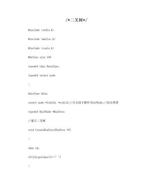 自考数据结构上机题目3 二叉树.doc