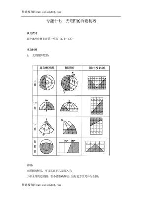 光照图的判读技巧专题复习教案(专题十七).doc