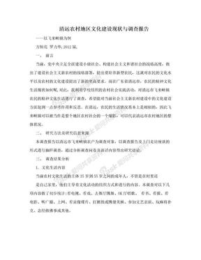 清远农村地区文化建设现状与调查报告.doc