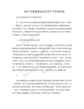 2013年度危化品安全生产工作总结.doc