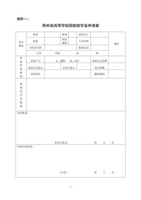 附件1:贵州省高等学校国家助学金申请表.doc