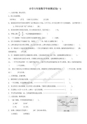 苏教版小学六年级数学毕业测试卷(共十套)2017用.doc