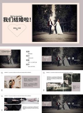 大氣極簡粉色婚禮相冊展示PPT模板