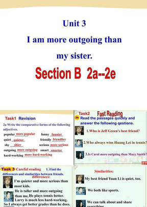Unit  3  I'm more outgoing than my sister.Section B 2a-2e优秀课件.ppt