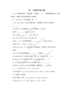 初一上册数学练习题.doc