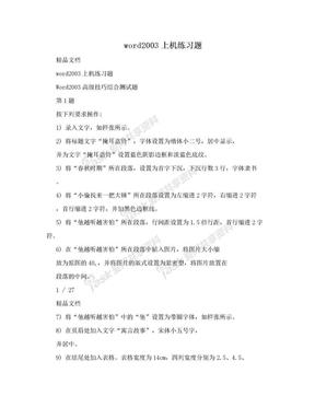word2003上机练习题.doc