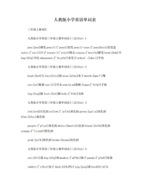 人教版小学英语单词.doc