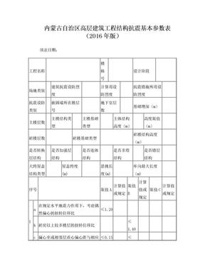 内蒙古自治区高层建筑工程结构抗震基本参数表.doc