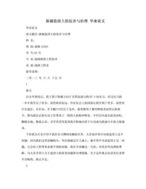 新疆盐渍土的危害与治理  毕业论文.doc