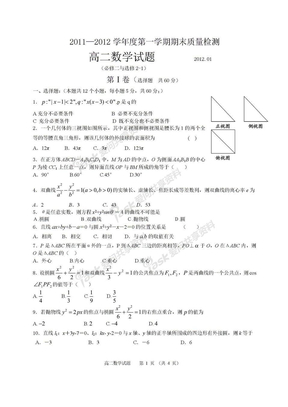 高二期末数学试题(必修二与选修2-1).doc