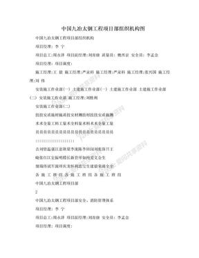 中国九冶太钢工程项目部组织机构图.doc