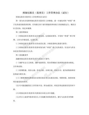 村级纪检员(监督员)工作管理办法(试行).doc
