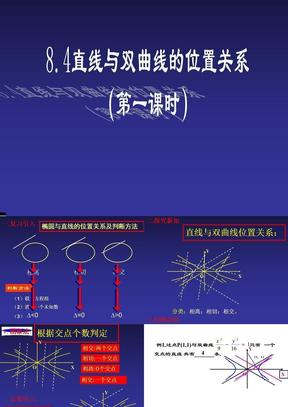 【数学(选修2-1)】双曲线与直线位置关系.ppt