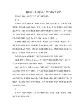 郑州市马头岗污水处理厂可行性研究.doc