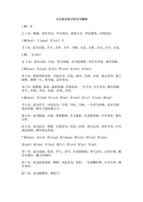 五行属木的字姓名学解释.doc