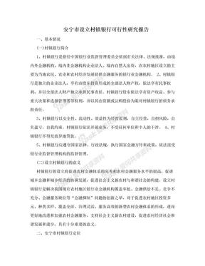 安宁市设立村镇银行可行性研究报告.doc