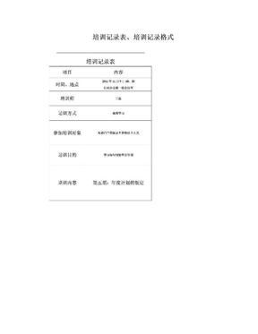 培训记录表、培训记录格式.doc