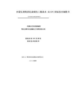 内蒙亿利集团亿鼎煤化工脱盐水 站EPC招标技术规格书.doc