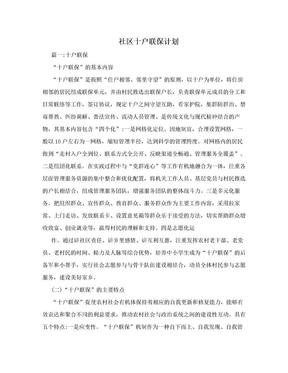 社区十户联保计划.doc