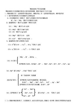 初中化学物质或离子等共存问题.doc