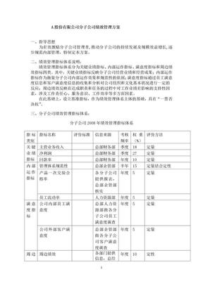 A股份有限公司分子公司绩效管理方案.doc